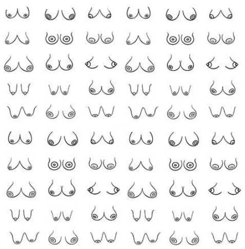 många sexiga bröst